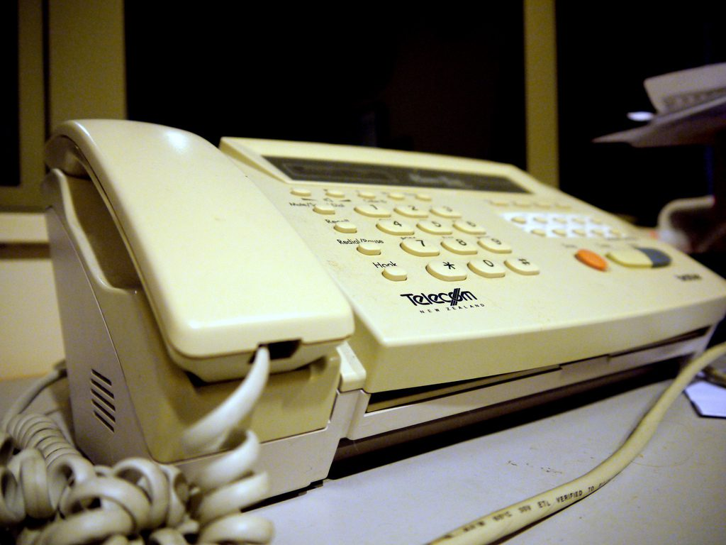 telecom-old-fax-yellow-plastic