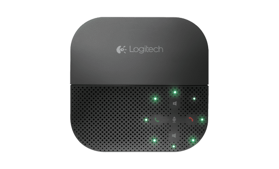 Logitech-Mobile-Speakerphone-P710e-Example-Photo-top-view-angle-design-black-sleek-modern-uc-unified-communications-video-conferencing