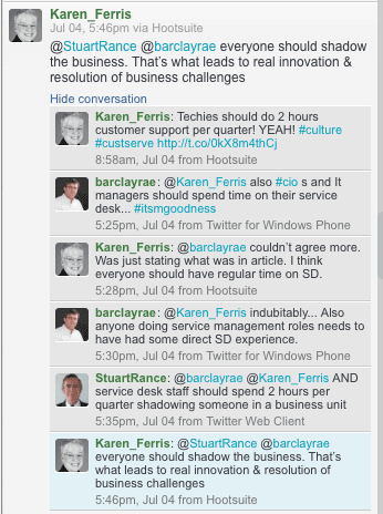 karen-ferris-stuart-rance-barclay-rae-twitter-itsm-discussion-shadowing-service-transition