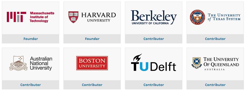 edx-founders-contributors-members-mit-hardvard-berkley-texas-system-anu-boston-university-TUdelft-queensland
