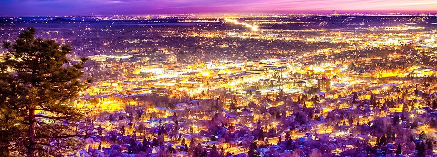 Downtown Boulder, Colorado scenic view from Flagstaff mountain of the city lights with a colorful early morning sunrise. Boulder is located at the base of the foothills of the Rocky Mountains at an elevation of 5,430 feet. The city is about 25 miles northwest of Denver. In this image you can also see the morning traffic on the diagonal highway that connects Boulder with Longmont. The Pearl Street Mall (also referred to as Pearl Street, Downtown Boulder or just simply Downtown) is a four block pedestrian mall.. The pedestrian area stretches from 11th Street to 15th Street along Pearl Street and is home to a number of businesses, art galleries and restaurants as well as the Boulder County Courthouse. The Mall is at the heart of downtown Boulder. The area is a historic district and many of the buildings are some of the oldest in Boulder. The Boulder County Courthouse is located in the 1300 block on the north side of the mall. The courthouse no longer houses the actual courts for Boulder County, but it does it remains the seat of county government. Colorado Fine art nature landscape photography poster prints, decorative canvas prints, acrylic prints, metal prints, corporate artwork, greeting cards and stock images by James Bo Insogna (C)   - All Rights Reserved.  Please feel Free to share our links, with Family or Friends who may also enjoy them.   If you like my Art Gallery, please spread the word and press the Pinterest, FB, Google+, Twitter or SU Buttons! Thank you!  *PLEASE NOTE, WATERMARKS WILL NOT BE ON THE PURCHASE PRINTS*