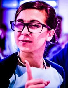 Hey-Teacher-Female-Woman-Education-Business-Learning-Finger-Pointing-Glasses-Blue-Dress