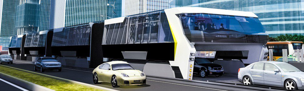 Straddling Bus Concept CAD Render Street Cars Future Urban Train Crop Traffic
