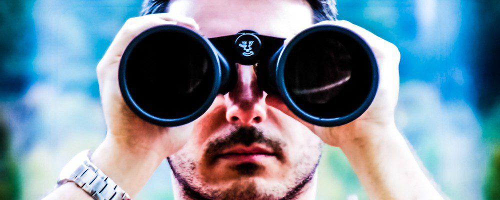 Man Spying Binoculars Watch Silver Outside Social Media Content