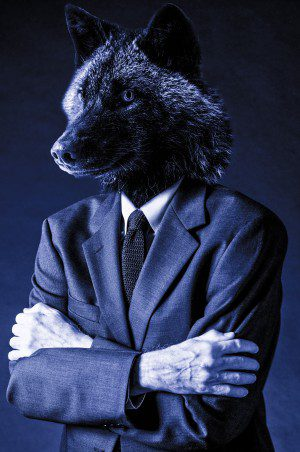 Dogs of Business Enterprise Wolf Wallstreet Blue Shade Suite Up Photomanipulation Animal Head Man Standing