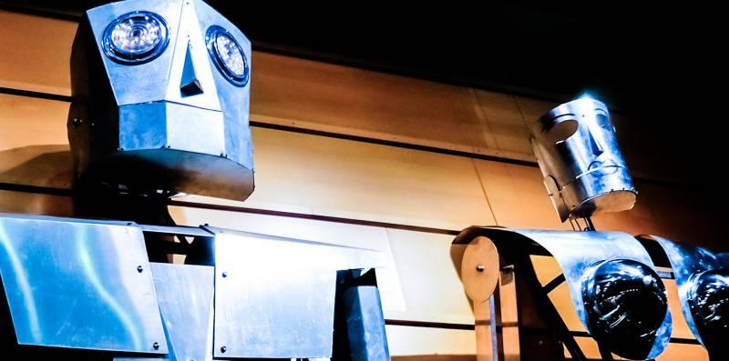 Robots Tin Man Woman Android Gynoid Asimov Laws Robotics Blue White Background