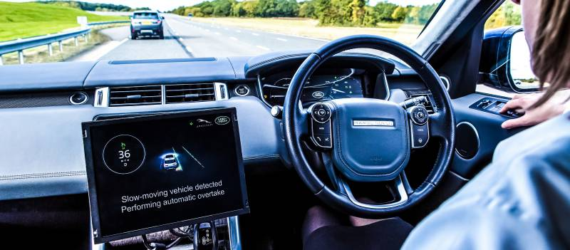 Self Driving Cars Autonomous Vehicles Track Racing Testing Pilot Concept Jaguar Cockpit Interior Street Overtaking