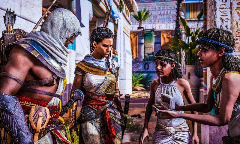 ACO_screen_BayekAya_Interrogate Ubisoft Assassins Creed Origins Ancient Egypt Roman Conflict Brotherhood Templar Screenshot Example Release Date Preview Review