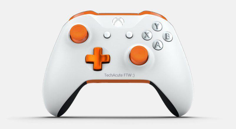 TechAcute Custom Xbox One X Controller Rubber Grips White Orange Layout Design Price Review