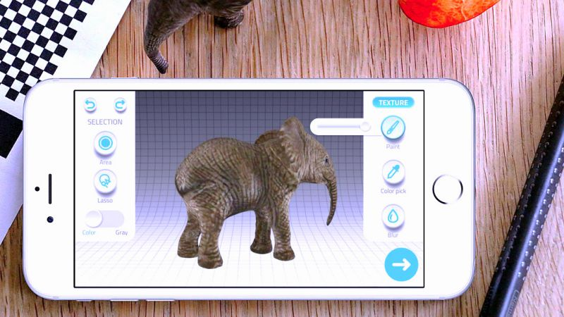 Qlone 3D Scanning App Elephant Toys Digitalize AR VR Objects Export Model Blender Unity B2B B2C Entertainment Games Education Crop