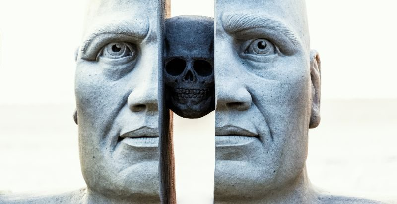Face Split Skull Art Personality Sculpture Male Face Competition Culture Rivalry Busines Article