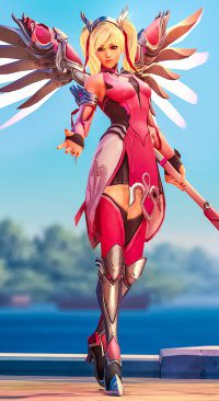 Mercy Guardian Angel Blizzard Overwatch Breast Cancer Skin Research Raising Money Funding Foundation News Angela Ziegler Doctor Full Pink Outfit