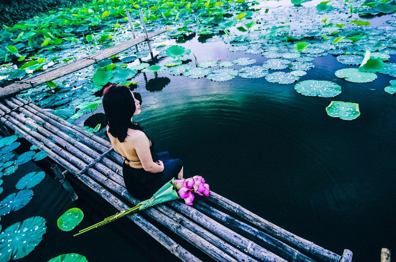 Headspace App Review Woman Sitting Pond Lotus Flower Floating Meditation Meditating Calm Mindful Yoga Photo