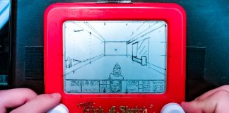 Travel Etch A Sketch Doom Screenshot Drawing Retro Gaming Art Tech Video Toy