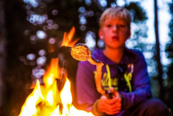 Children Happy Camping Kids Child Smores Campfire Technology Gadgets Fire Marshmallows