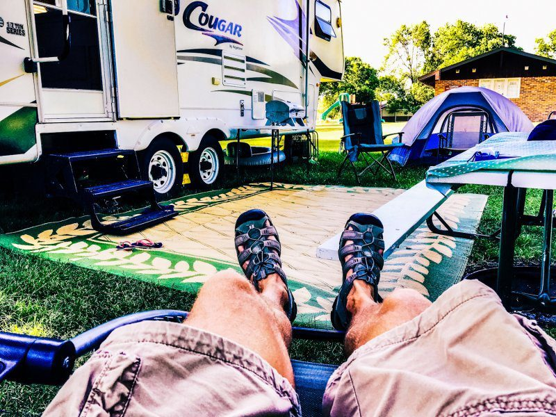 Camp Camping Camper Happy Relaxing Holidays Vacation Legs Up Chill Tech Gadgets Outdoors Fun
