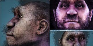 Homo_erectus_pekinensis_-_wireframe Video Game Dev 3D Polygons History Video Explainer Color
