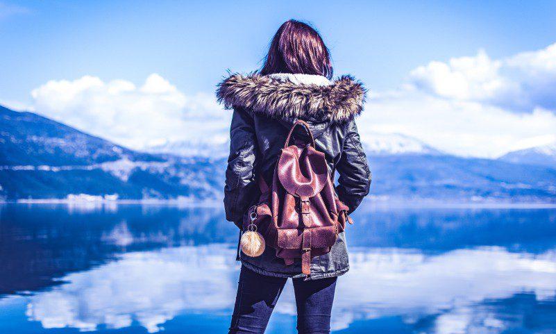 Woman Hiking Mountain Sea Lake Backpacker Female Startup Founder Tech Girl Power Women Entrepreneus Girl Boss