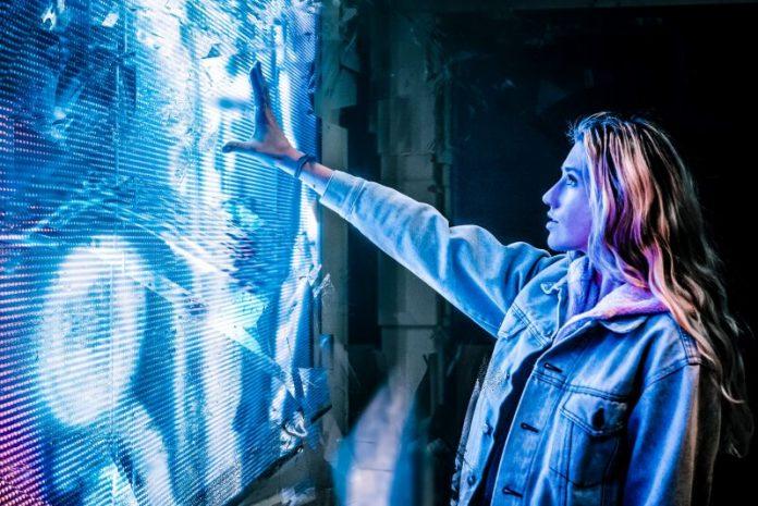 AI Millenials Digital Natives Tech Interview Woman GIrl Jeans Jacket Embracing Technology Future Cyberpunk Screen Display