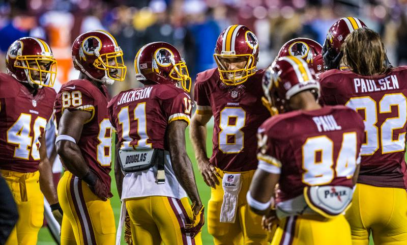 Redskins-Paul-Paulsen-Jackson-American-Football-NFL-Players-On-Field-Standing-Talking-Strategy-Tech Giants at Redskins 9/25/14