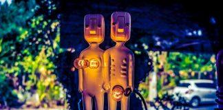 Gender-Diversity-Bias-AI-Machines-Data-Decision-Making-Opinion-Electric-Bodies-Man-Woman-Standing-Light