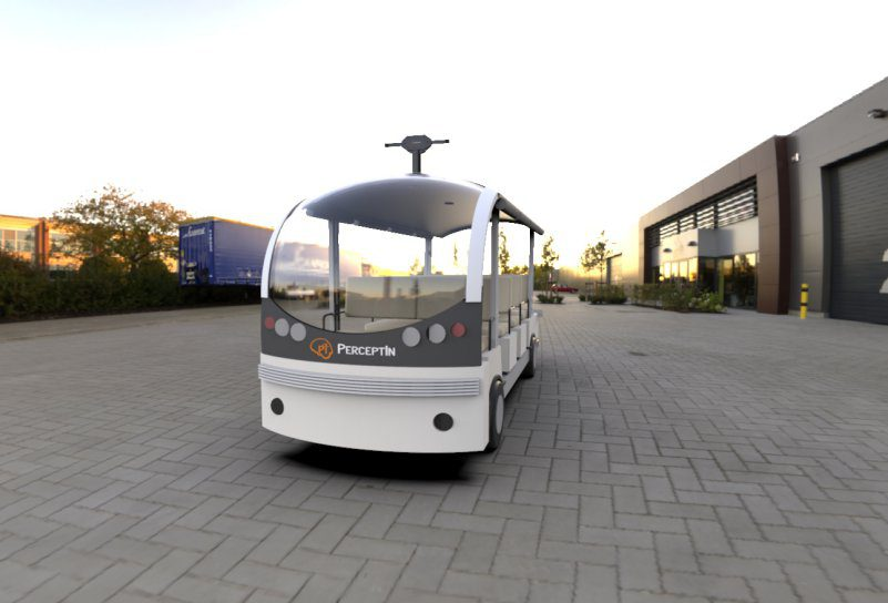 PerceptIn DragonFly Autonomous Shuttle Bus Render Self Driving Electric Vehicle AI Lidar