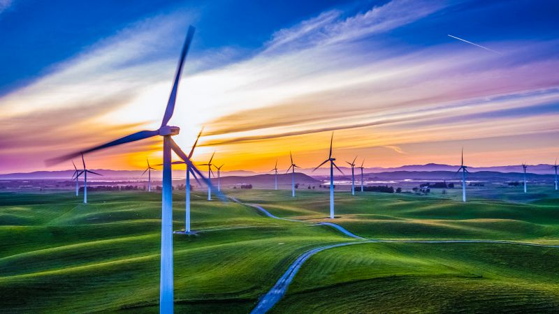 Wind energy farm turbines sustainable electricity power plan saving money
