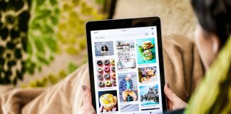 Pinterest user Browsing Social Media App on iPad Tablet New Mental Health Features