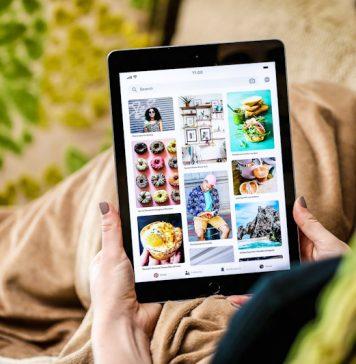 Pinterest user Browsing Social Media App on iPad Tablet New Mental Health Features