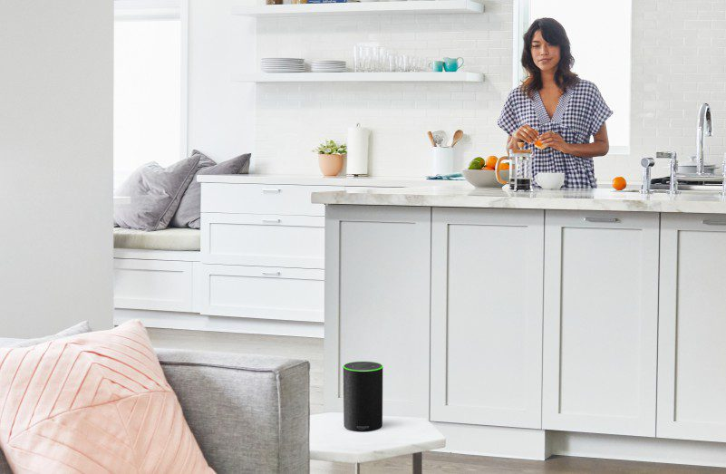 Amazon Alexa Echo Tap How To Opt Out Disable Eavesdropping Voice Recording Woman In Kitchen Using Smart Speakers