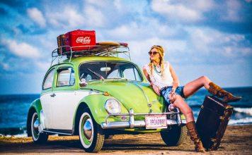 Woman Beach Volkswagen Beetle Vacation Trip Holidays Earth Roulette Random Destination Generator Online