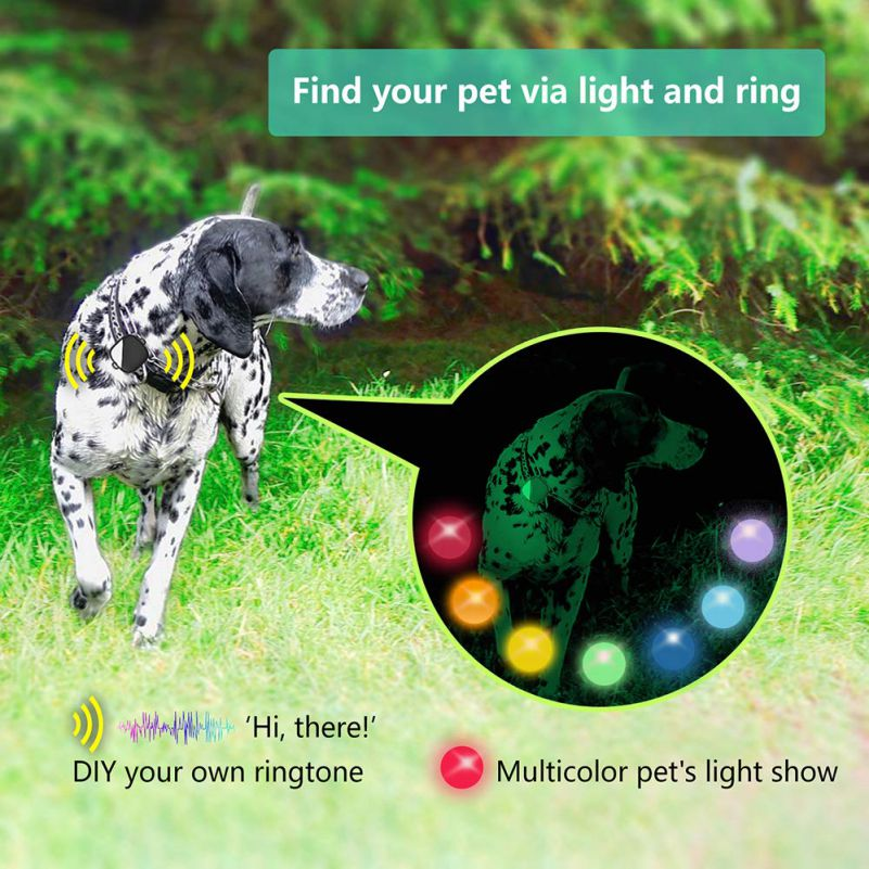 Petfon GPS Tracker Lost Pets Stolen Dogs No Monthly Costs Alarm Colored LED Ringtones