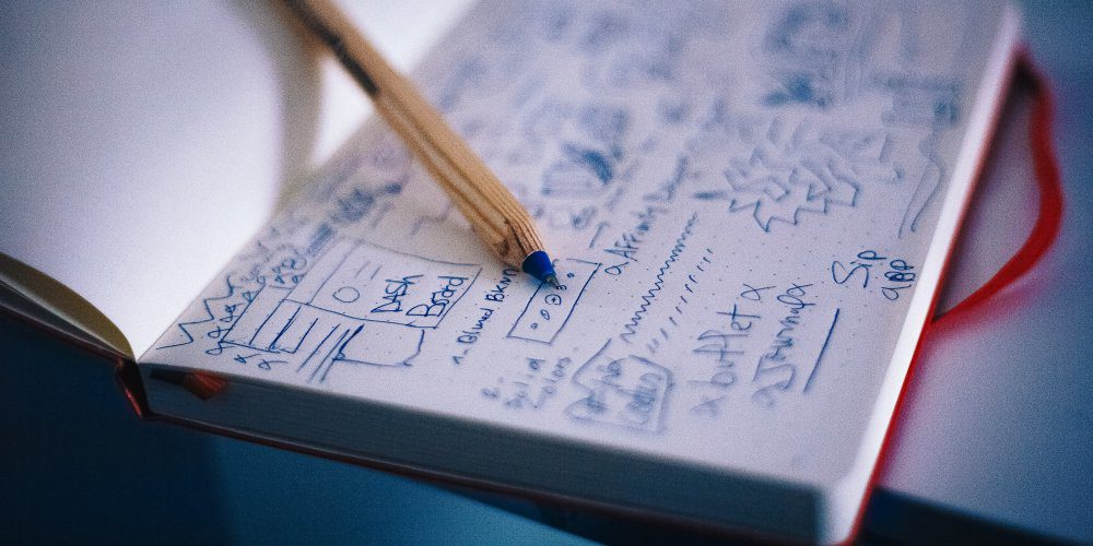 Business Plan Notebook Biro Blue Pen Wood White Paper Scribble Strategy Tactics Planning For Online Growth