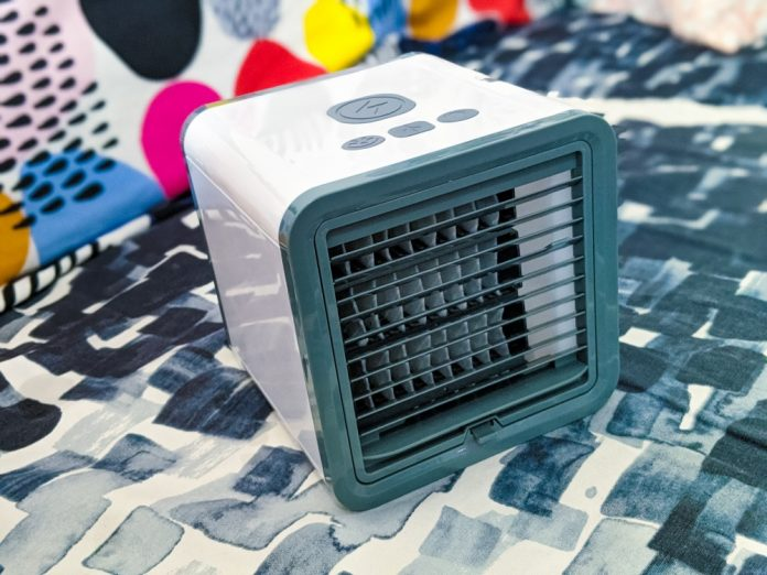 A/C Portable Air Conditioning Cooler Fan Water Vaporization Filter Ice Cubes USB Small Cube Summer Gadgets LED Changing Lights