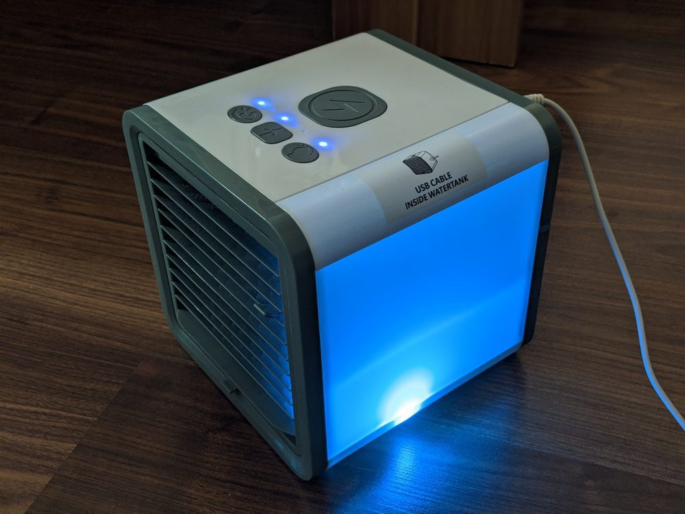 Portable Air Conditioning Cooler Fan Water Vaporization Filter Ice Cubes USB Small Cube Summer Gadgets LED Changing Lights Links Amazon