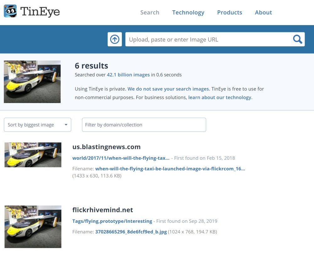 TinEye Reverse Image Search Engine Picture Lookup Free Web Tool