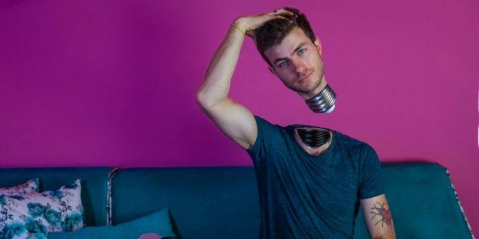 Man in shirt idea innovation switch on brain think