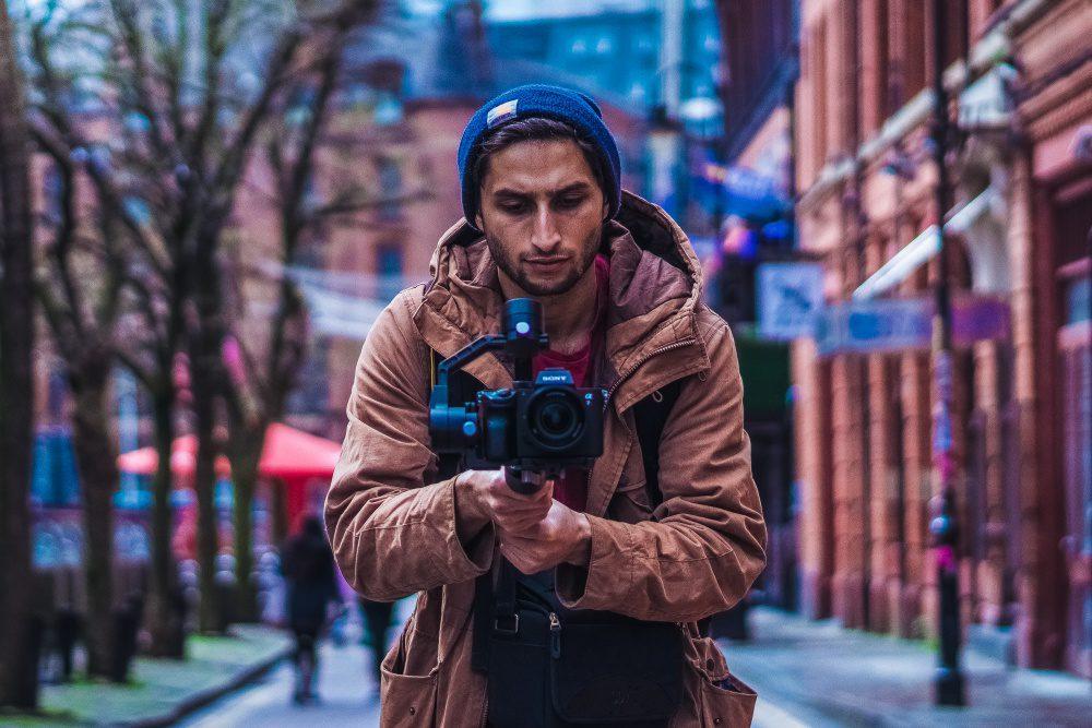 Virtual Walk City Hike Video Production Camera With Gimbal Young Man Shooting Footage Urban Area
