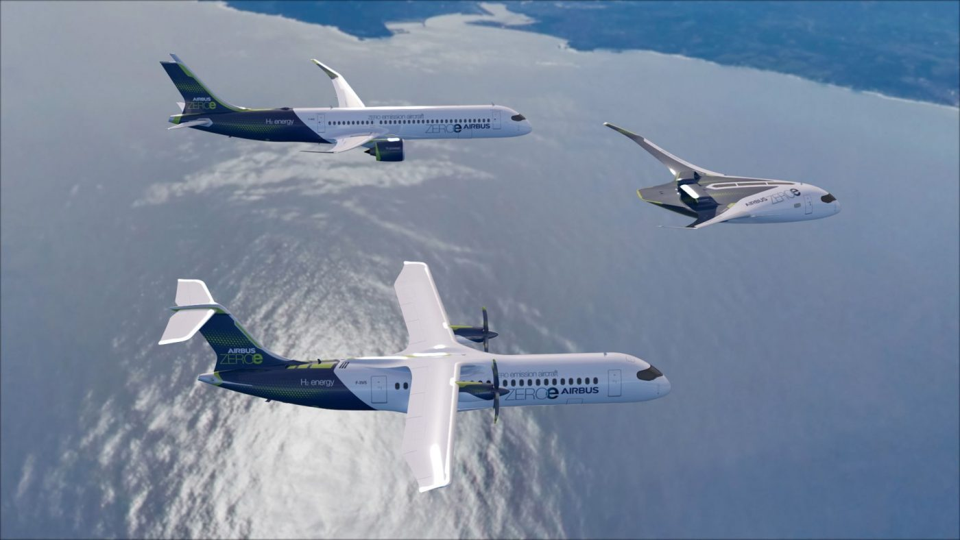 """Airbus ZEROe concept aircrafts - formation flight with turbofan design, turboprop design, and """"blended-wing body"""" design"""