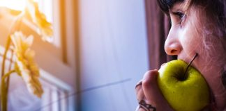 Healthy Lifestyle Woman Eating Biting Apple Green Henna Tattoo Looking Window