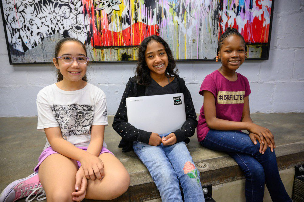 Girls Who Code (GWC) Three Coders at Campus Zynga News International Womens Day