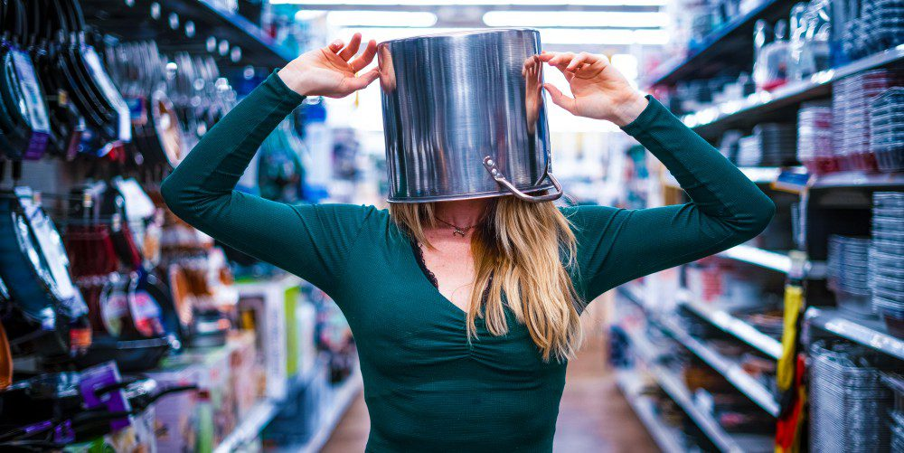 Woman Blinded Blocked Head In Pot Cooking Utensils Isle Confusion Unclear