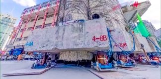 Army of Walking Robots Relocate Building in Shanghai